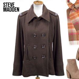 Steve Madden Brown Wool Blend Pea Coat XL